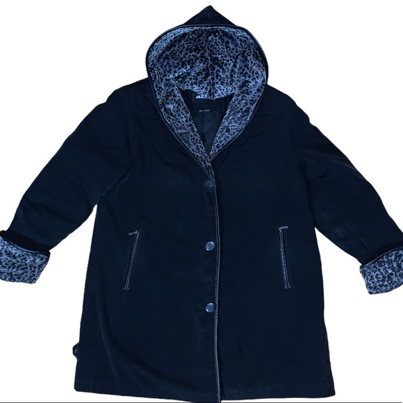 Alia Women's Chenille Lined Black Coat Size Large